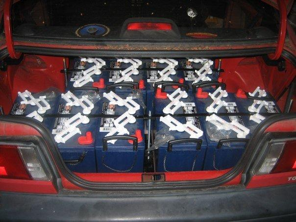 Batteries in the trunk