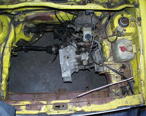The engine compartment before